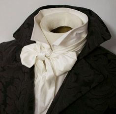 Regency Victorian Ascot Cravat Tie Slim Ivory Dupioni Silk - x Medieval Fashion, Victorian Fashion, Victorian Men, Ivory White, White Silk, Cravat Tie, How To Have Style, Ascot Ties, Scarf