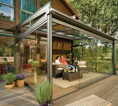 Exterior : Interesting modern outdoor glass terrace beside house ideas by patio design with closed room made of glass with metal frame picture - a part of Amazing Summer Decoration Design Ideas for Outdoor Living Areas Pergola With Roof, Patio Roof, Pergola Patio, Pergola Plans, Pergola Kits, Timber Pergola, Gravel Patio, Concrete Patio, Diy Patio