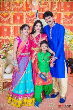 Family out fit Half Saree Lehenga, Kids Lehenga, Sarees, Half Saree Designs, Blouse Designs, Blouse Styles, Family Outfits, Kids Outfits, Couple Outfits