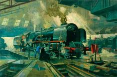Direct Painting An Illustration With A Sequence By The Famous Cyrus Cuneo Railway Posters, Travel Posters, Transport Posters, Train Pictures, Art Pictures, Trains, Railroad Pictures, National Railway Museum, Train Times