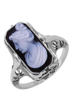 14k White Gold Cameo Ring