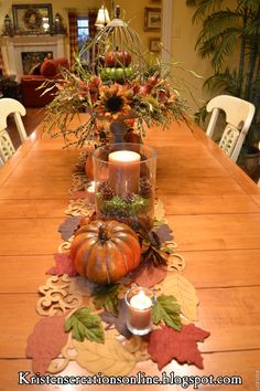 Kristen's Creations: The Dining Room Table Dressed For Fall And The Winners Of The iPhone Cases Fall Table Settings, Thanksgiving Table Settings, Thanksgiving Decorations, Table Decorations, Holiday Decorations, Thanksgiving Tablescapes, Holiday Ideas, Fall Home Decor, Autumn Home