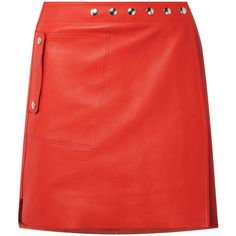 Acne Studios Shiryn leather wrap mini skirt (52.060 RUB) ❤ liked on Polyvore featuring skirts, mini skirts, red, short skirt, red short skirt, leather a line skirt, red leather mini skirt and red leather skirt