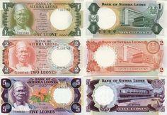 Sierra Leone:  1 Leone 4.8.1984 (President S. Stevens; Central Bank); 2 Leones 4.8.1985 (President S. Stevens; Central Bank); 5 Leones 4.8.1984.