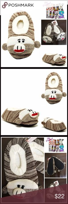MUK LUKS Sock Monkey Slipper Socks 💟NEW WITH TAGS💟   ***2 Sizes available- Tagged size Children's 9-12 OR  13-3  MUK LUKS Sock Monkey Slipper Socks  * Round toe   * Knit construction, stretch-to-fit   * Monkey detail vamp; Slip-on & elastic Cuff  * Contrast toe and trim  * Designed for indoors  * Cozy & comfortable  Fabric: 100% cotton  Color: Brown, ivory Item#ML91700 Search words# B91900 winter snow fall 🚫No Trades🚫 ✅ Offers Considered*✅  *Please use the blue 'offer' button to submit…