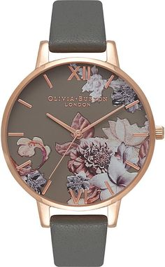 Olivia Burton 674263 Floral rose gold-plated leather watch