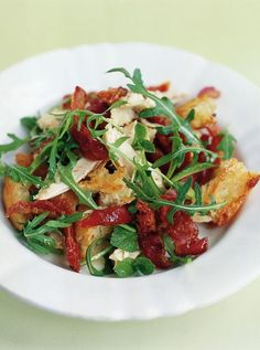 The best chicken salad ever  With tomatoes, pancetta and crunchy croutons