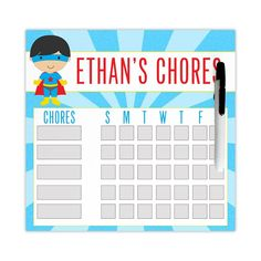 Chore Chart For Kids Dry Erase Chore Chart Magnetic Chore Chart
