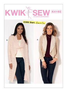 Kwik Start Learn to Sew pattern. Misses' Shawl Collar Cardigans Shawl Collar Cardigan, Cardigan Pattern, Vest, Kwik Sew Patterns, Clothing Patterns, Clothes Crafts, Sewing Clothes, Boiled Wool Fabric, Make Your Own Clothes
