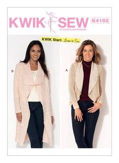 Kwik Start Learn to Sew pattern. K4192 Misses' Shawl Collar Cardigans