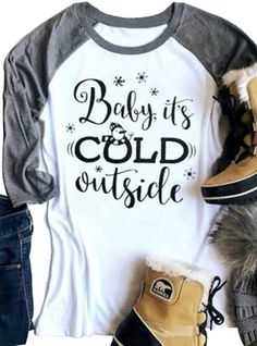 508c9f4c Baby It's Cold Outside Funny Christmas Snowman T Shirt Women Holiday Raglan  Tops - White - C4188L48Y9N
