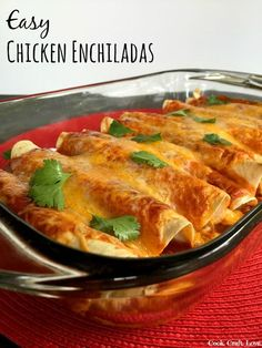 Chicken enchiladas are an easy and delicious weeknight meal the whole family will love!  Cook the chicken in the crock pot then come home to a quick assembly and dinner on the table in less than 30 minutes!