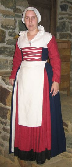 This Flemish ensemble is based on Drea Leed's article Working Woman's Dress in 16th Century Flanders.