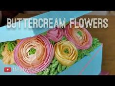 Floral buttercream gift box cake pt 1 - how to pipe ranunculus, poppy, rosebud flowers - YouTube