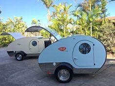 FRESH CREAM NOOSA & SUMMER BLUE BONDI, BOTH WITH DEEP BLUE GUARDS Gidget Retro Teardrop Camper www.thegidget.com.au