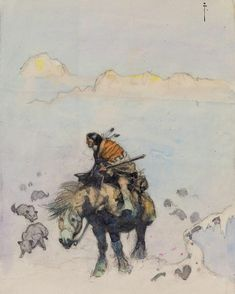 "#FrankFrazetta ""Native American Watercolor"" •c1970s• Frazetta would often create watercolor preliminaries of concepts he had for new oil works. This Western work is one such prelim, never realized as an oil painting ••••••••••••••••••••••••••••••••••••••••••••••••••••••••••••• #Frazetta #NativeAmerican #Art #Watercolor #Illustration #Sketch #Painting #ComicArt #Comics #Sketch #FantasyArt #Western"