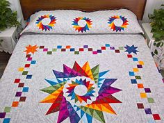 Cartwheel Compass Quilt -- superb cleverly made Amish Quilts from Lancaster.