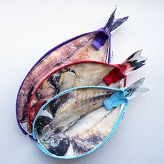 In a dilemma as to which board to pin these fish pouches. But since it's realistic...  ほっケース color - 妄想工作所 直販ショップ