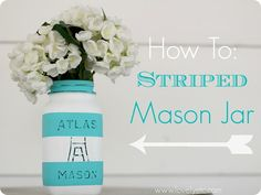 How to paint a striped mason jar - www.lovelyetc.com