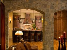Southwestern Decorating Ideas with stone wall - great kitchen idea