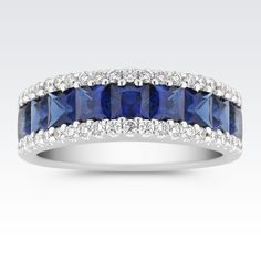Nine princess cut sapphires, at approximately carat TW, add color while 42 round diamonds, at approximately TW, add sparkle to this exquisite piece. The ring is crafted from the finest 14 karat white gold. The total gem weight is approximately carats. Sapphire Wedding Rings, Sapphire Jewelry, Sapphire Diamond, Diamond Rings, Diamond Engagement Rings, Diamond Jewelry, Diamond Cuts, Sapphire Rings, Solitaire Rings