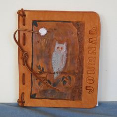 Full Moon Owl Refillable Leather Journal by threadsofmagique