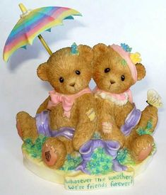 Heidi´s Cherished Teddies Galerie: Whatever The Weather, We're Friends Forever! - Abbey Press - Girls Sitting Back To Back With Umbrella (4005160)