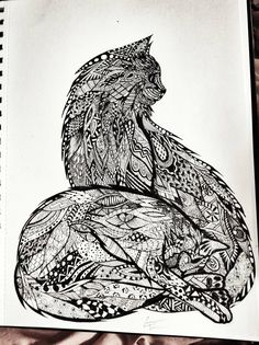 "♥PETS- MUST MAKE ""ZENTANGLES"" of **EACH PET** INDIVIDUALLY (USING MY FAV PICS OF THEM; THEN MAKE ANOTHER ""ZENTANGLE"" (4M A FAV PIC2.) W/ ALL 3 INDOOR  CATS 2GETHER..., DONT 4 2 ADD OPAJ!!!!!!  .  -Cats zentangle"