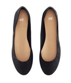 Black ballet flats--basic and yet polished, to support any kind of outfit.                                                                                                                                                     More