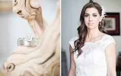 www.ostaraphotography.com, ©Ostara Photography, Spanish Style Wedding, Lace Dress, Emerald Cut Diamond Ring, Feather Headpiece