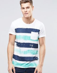 Esprit+Painted+Stripe+T-Shirt+with+Pocket
