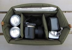 Bag insert - turns any bag into a camera bag. Maybe put in old coach diaper bag??