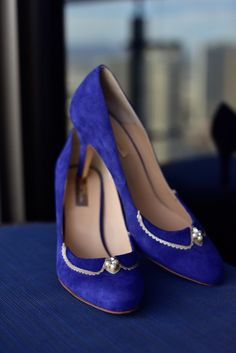 Blue wedding shoes | Photo by JamieY Photography