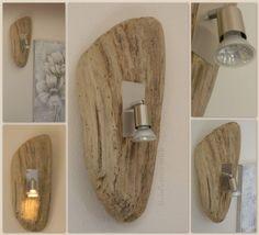 applique en bois flott et spot alu bross - Applique Murale Design Bois