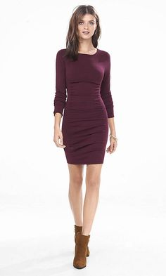 Burgundy Ruched Sweater Dress | Express - Yes!! I tried it on in green and it's soooo flattering!! :)