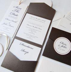 Unique Wedding Invitations : Mocha Pocket Wedding Invitation.lotsofloveinvitations.ie