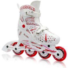 Tracer Girl's Adjustable Inline Skates, White
