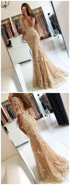 Elegant Trumpet/Mermaid Scoop Neck Tulle Sweep Train Appliques Lace 1/2 Sleeve Backless Prom Dresses  sold by BallaDresses. Shop more products from BallaDresses on Storenvy, the home of independent small businesses all over the world.