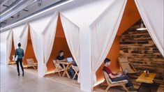 Now that every big startup has an open seating plan and giant amphitheater, what's next in office design? Airbnb office in SF Cool Office Space, Small Office, Cozy Office, Office Den, Office Nook, Office Nap Pod, Office Open Plan, Future Office, Office Seating