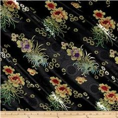 Chinese Brocade Sateen Phoenix Black