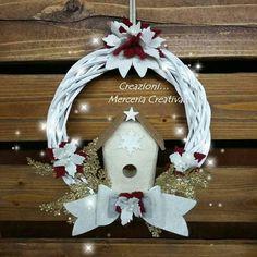 Coccarda bianca 20 cm con stella natalizia bordó