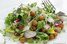 Microgreens salad with roasted chickpeas recipe