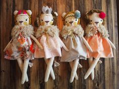 Natural undyed cotton + vintage fringe trim mane + gold stitching detail = a little dream come true  lion girl comes dressed in a removable cotton dress and fur capelet. Accessorized with a feather headband. Approx. 20 inches long from top of head to toe.
