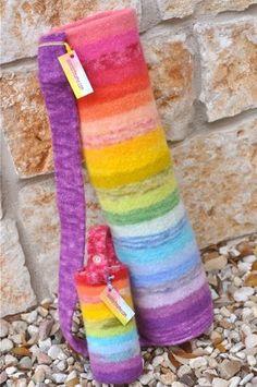 mat bag, rainbows, yoga bag, knit, felt craft, yoga mats, bags, rainbow yoga, water bottles