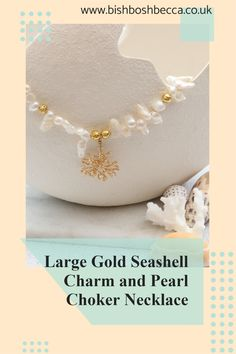 This large seashell necklace reminds me of coral or seaweed. So I designed a simple pearl choker to show off the large gold plated seashell charm at its best. Pearl Choker Necklace, Seashell Necklace, Earrings, Summer Jewelry, Seaweed, Pearl White, Sea Shells, My Design, Chokers