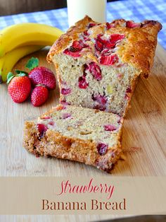 Strawberry Banana Bread - a good, old-fashioned banana bread recipe with an extra flavourful twist of having fresh strawberry chunks baked r. Strawberry Banana Bread, Best Banana Bread, Banana Bread Recipes, Strawberry Fields, Rock Recipes, Just Desserts, Dessert Recipes, Appetizer Recipes, Sweet Bread