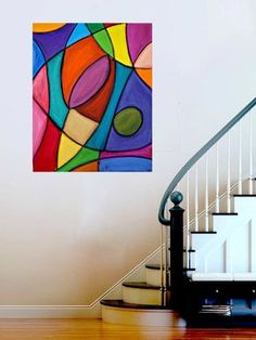 Bright Colorful Original Abstract Painting Large Wall Art Fine Art on Gallery Canvas Titled: Stained Glass 2 By Ora Birenbaum Diy Canvas, Canvas Art, Large Wall Art, Geometric Art, Modern Art, Contemporary Abstract Art, Art Lessons, Painting & Drawing, Art Drawings