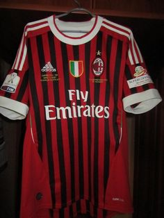 AC Milan football shirt 2011 - 2012 sponsored by Emirates Football Shirts, Football Team, Milan Football, Ac Milan, Soccer, T Shirt, Tops, T Shirts, Supreme T Shirt