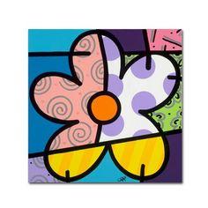 "Trademark Fine Art 35 in. x 35 in. """"Big Flower IV"""" by Roberto Rafael Printed Canvas Wall Art, Multi"