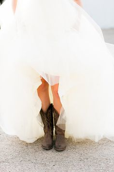 cowboy boots under wedding dress ♥
